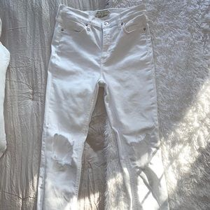 Free people white skinny distressed denim